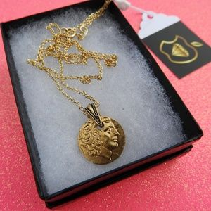 """Roman Coin Pendant & Gold Layered 20"""" Necklace"""